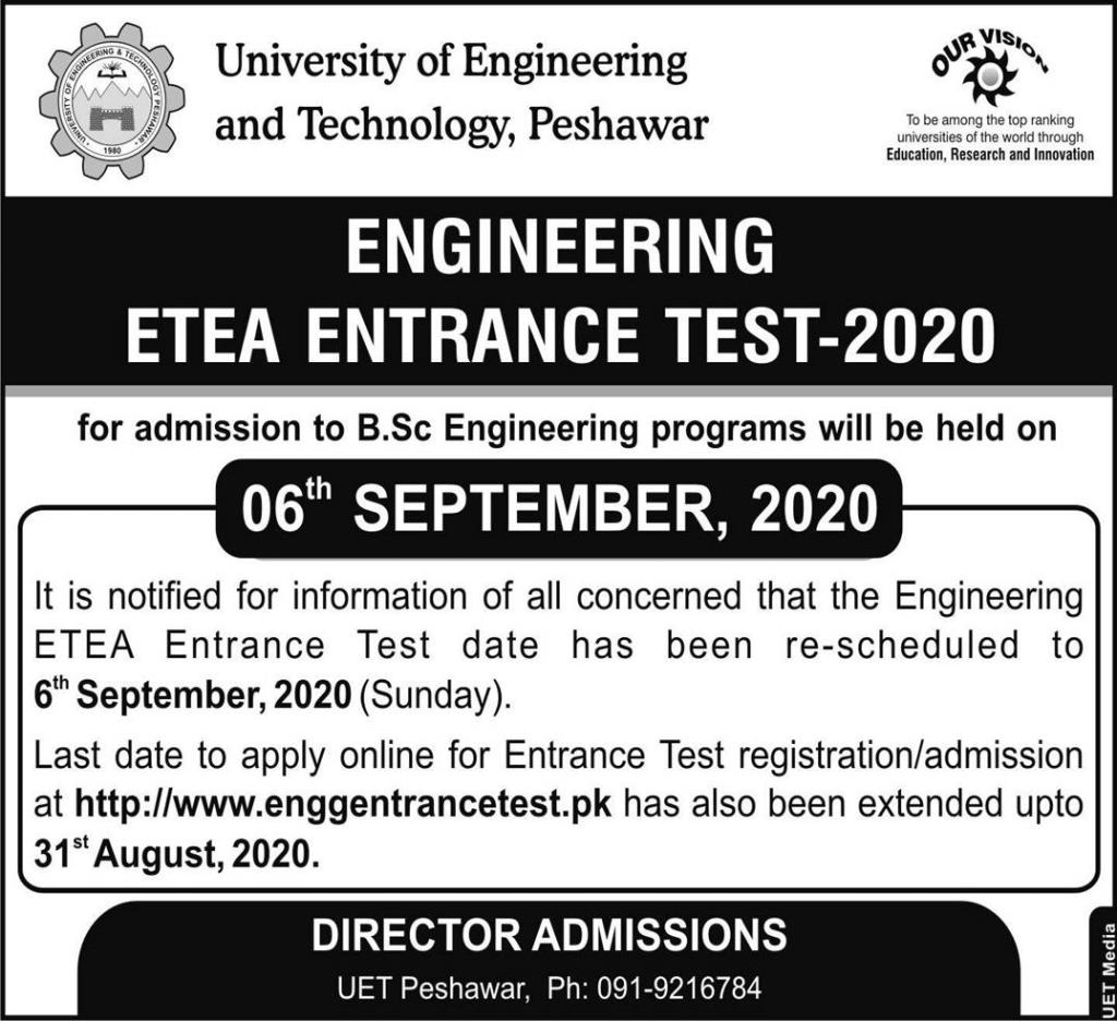UET Peshawar Admission BSc Engineering Merit List