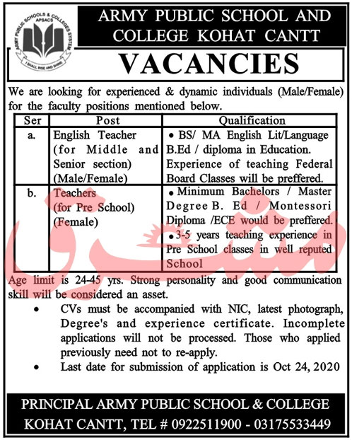 Army Public School College Kohat Cantt APSC Jobs