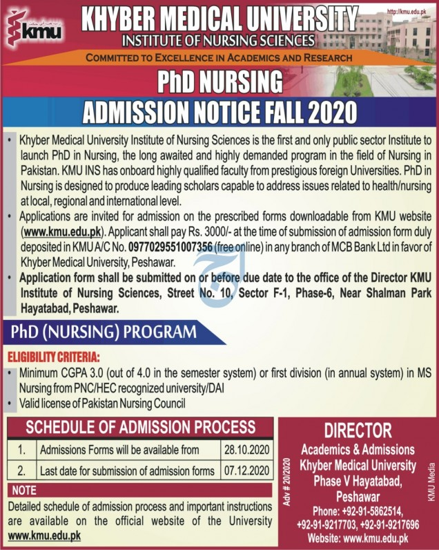 Khyber Medical University PhD Nursing Admissions