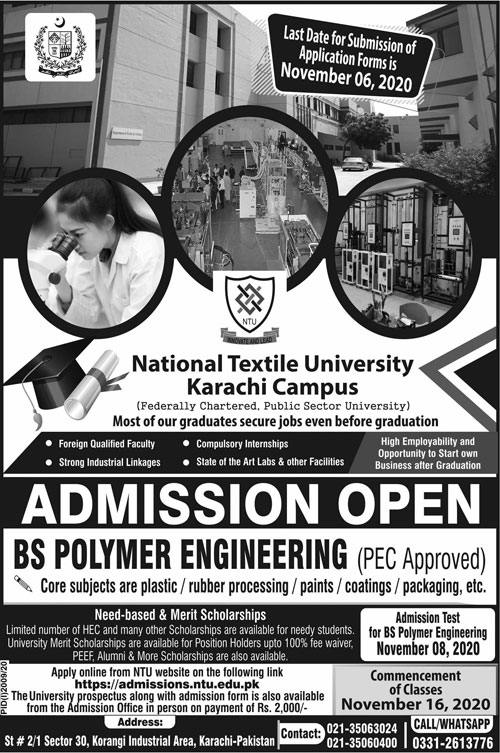 National Textile University BS Polymer Engineering Admissions Merit List