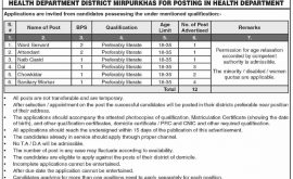 Health Department District Mirpurkhas Jobs