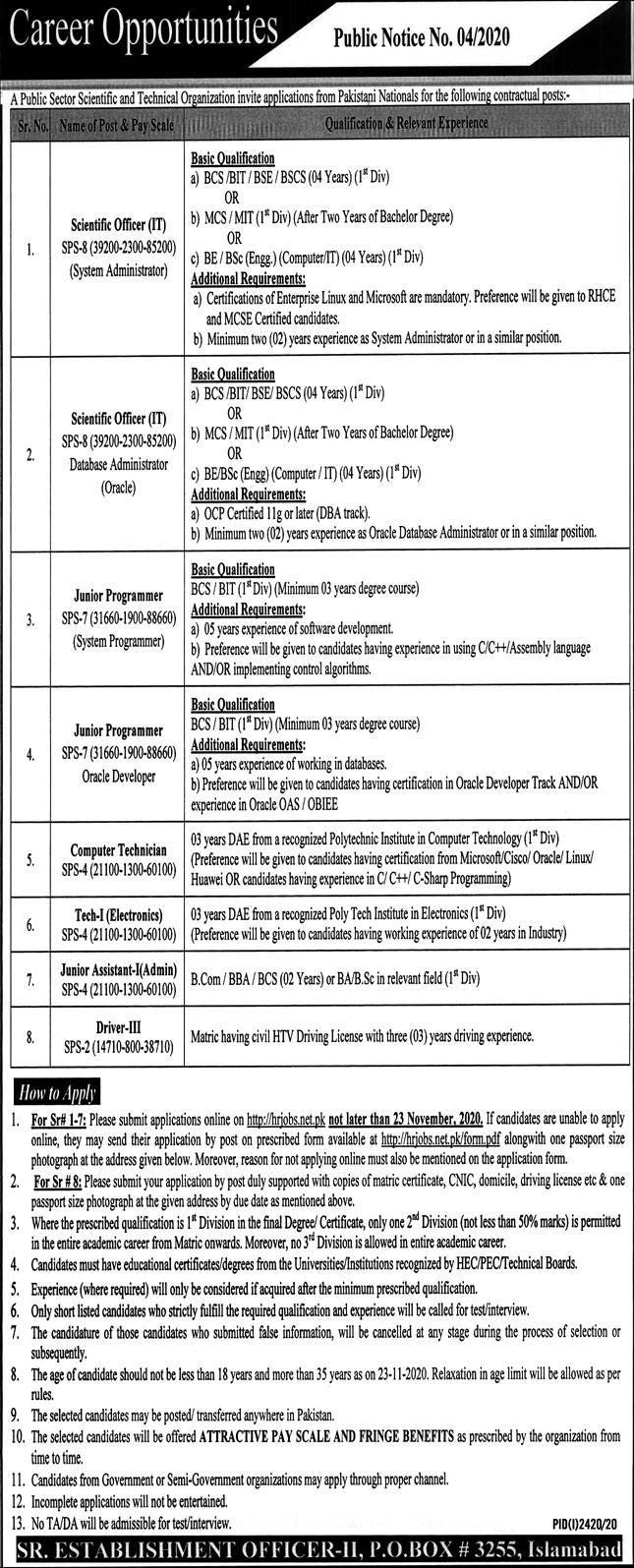 PO Box 3255 Islamabad Jobs