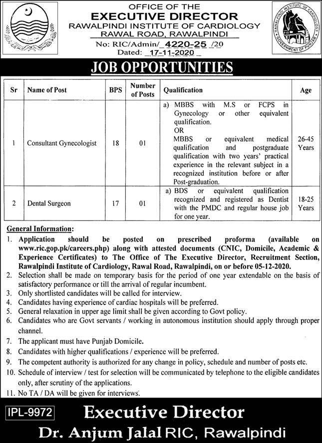 RIC Rawalpindi Institute of Cardiology Jobs