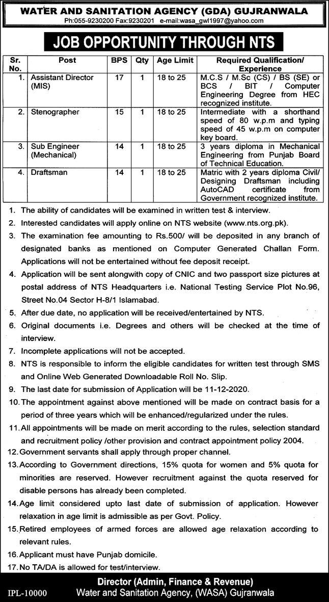 WASA Water and Sanitation Agency GDA Gujranwala Jobs
