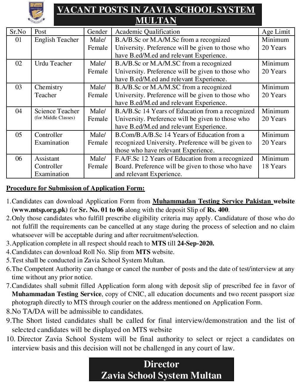 Zavia School System Multan Jobs MTS Result