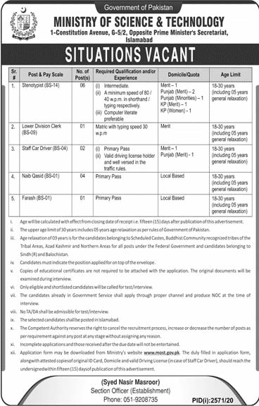 Ministry of Science Technology MOST Jobs