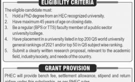 Punjab HEC Postdoc Scholarships Merit List