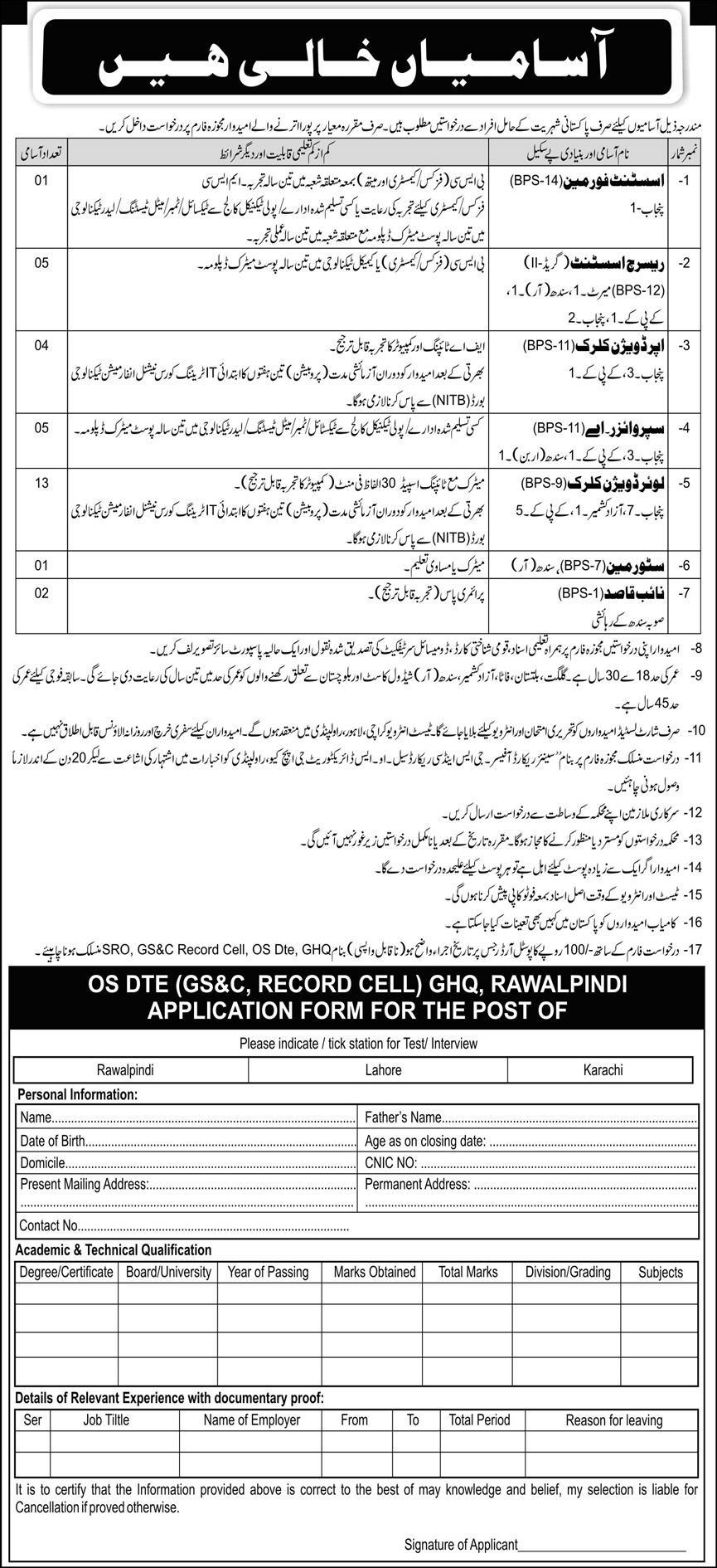 Army GHQ Rawalpindi Jobs