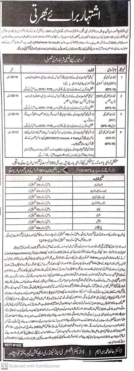 Elementary Secondary Education Department KPK SST Jobs NTS Results