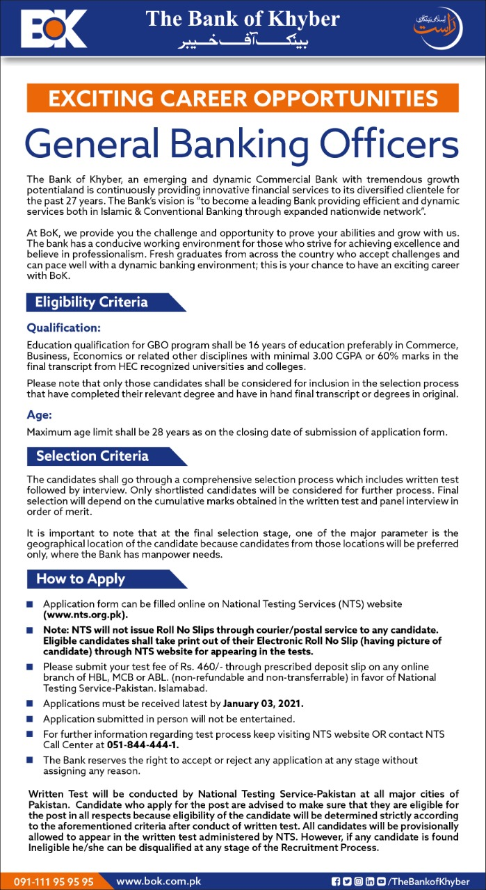 Banking Officer Bank of Khyber General Jobs NTS Test Roll No Slip