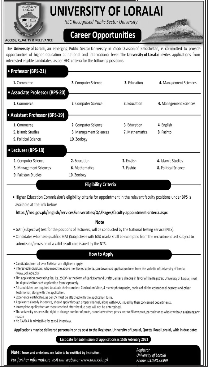 University of Loralai UOL Jobs 2021