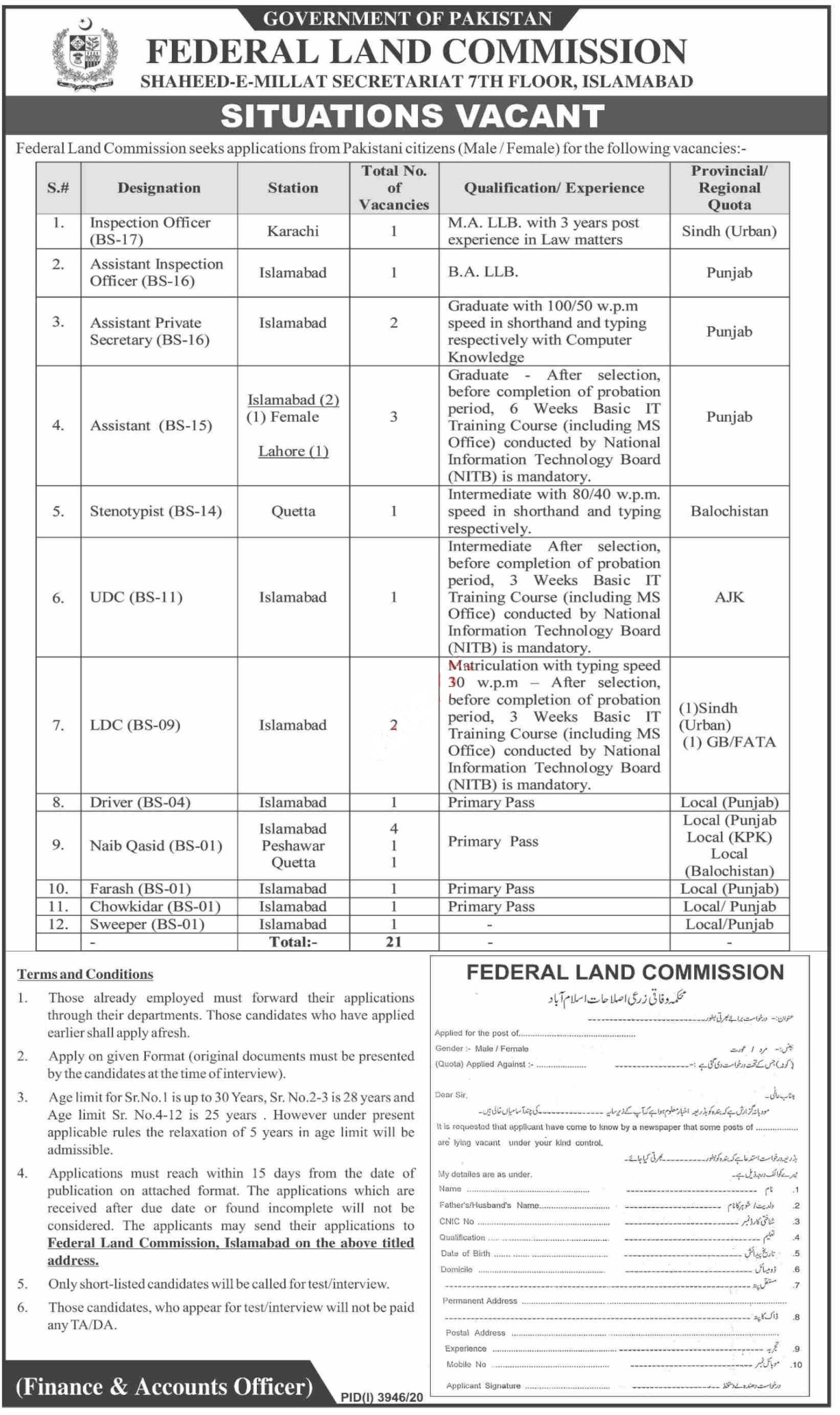 Federal Land Commission Jobs Islamabad