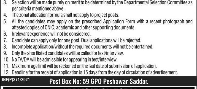 PO Box No 59 Peshawar Saddar Jobs Test Date Interview Schedule
