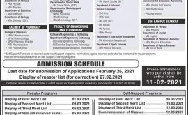 University of Sargodha Spring 2021 Admissions Merit Lis