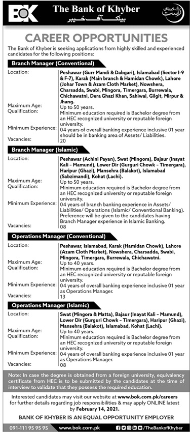 BOK Bank of Khyber Jobs