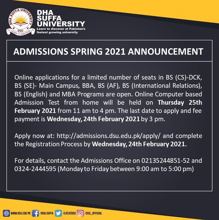 DHA Suffa University Spring 2021 Admissions BS BBA MBA Merit List