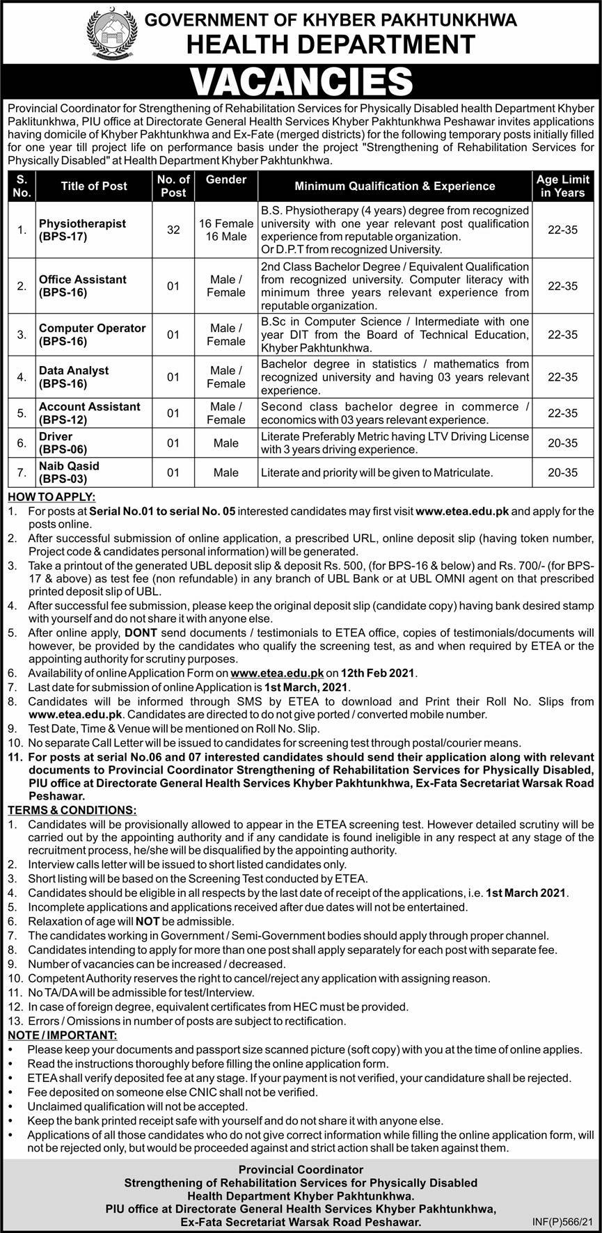KPK Health Department Jobs