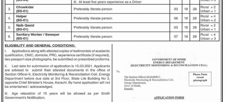 Energy Department Sindh Jobs Today Government Jobs in Karachi