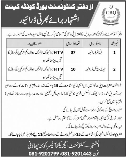 Today Govt jobs in Pakistan July 2021 Cantonment Board Quetta