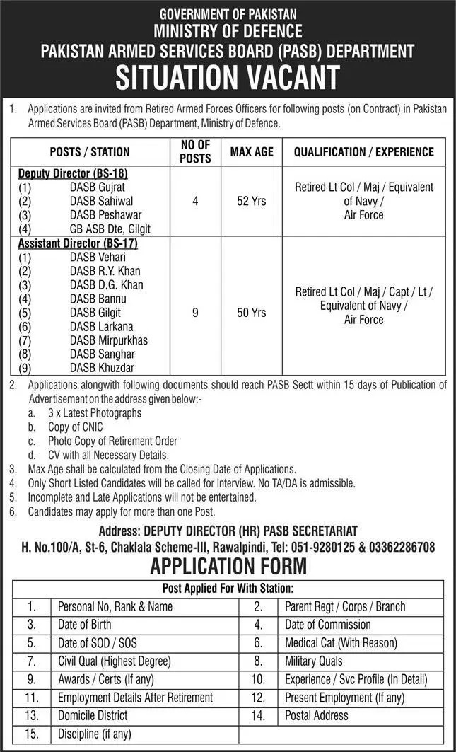 Retired Army Person Jobs 2021 Today Pakistan Armed Services Board PASB