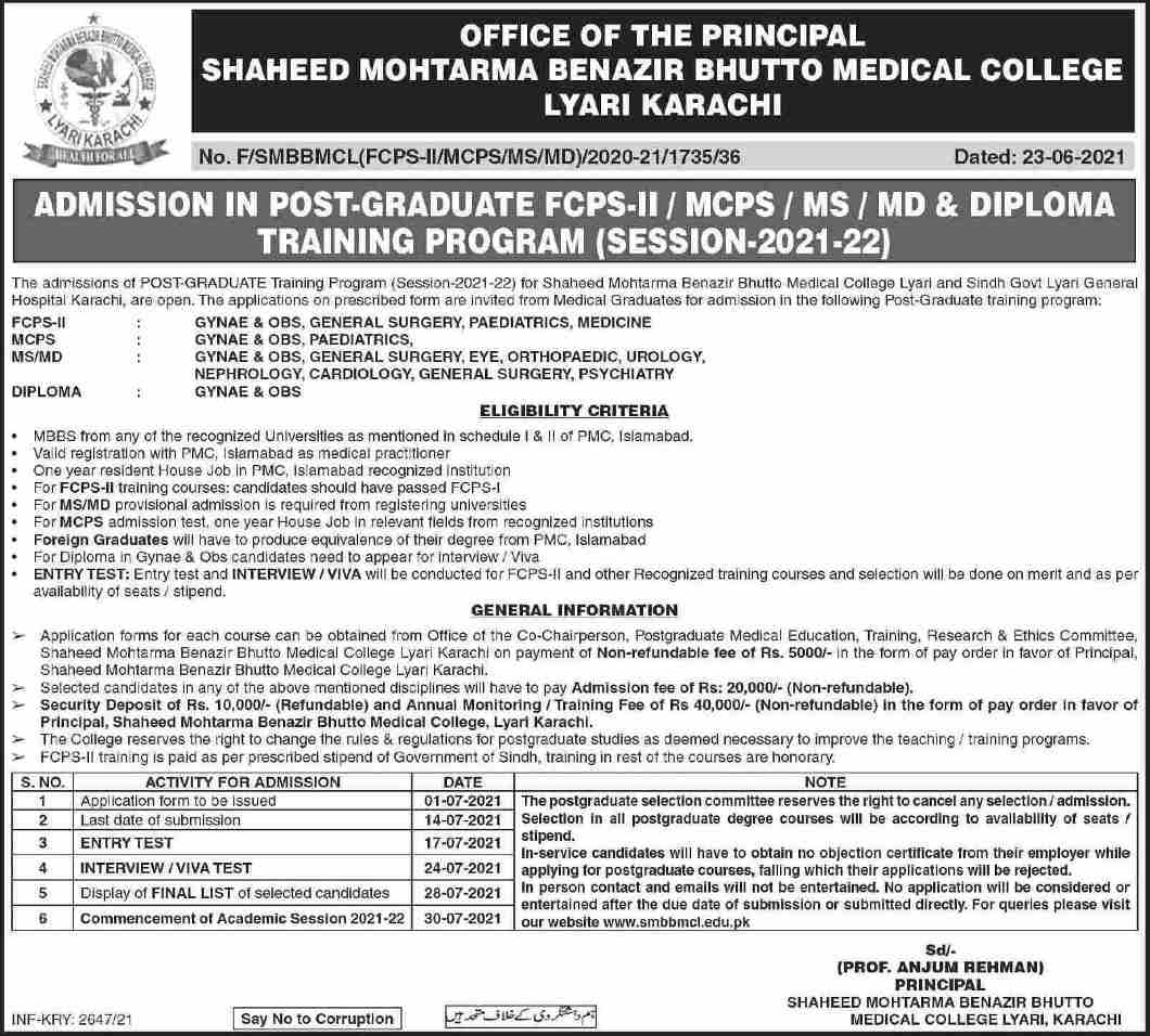 SMBBMC Admissions FCPS II MCPS MS MD Diploma Merit List 2021