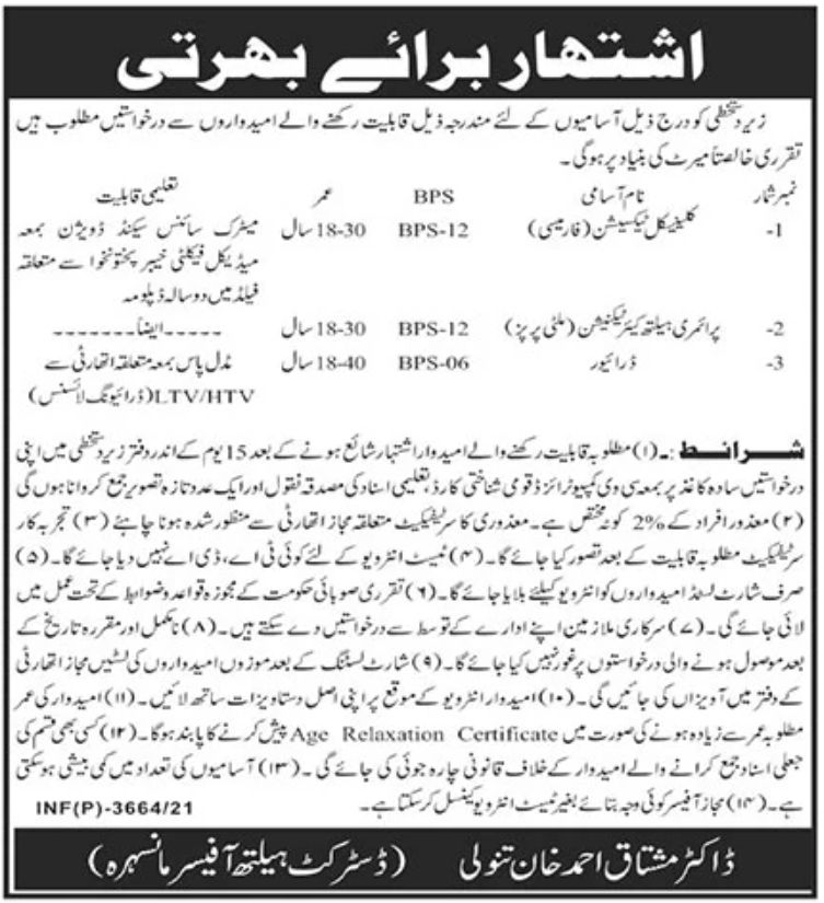Mansehra Govt Jobs Today in District Health Officer