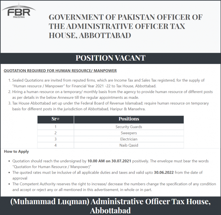 Latest Govt jobs in Pakistan 2021 FBR Abbottabad Federal Board of Revenue f