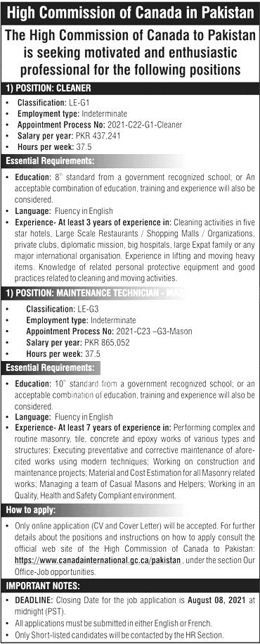 Govt Jobs Pakistan 2021 Today High Commission of Canada Jobs