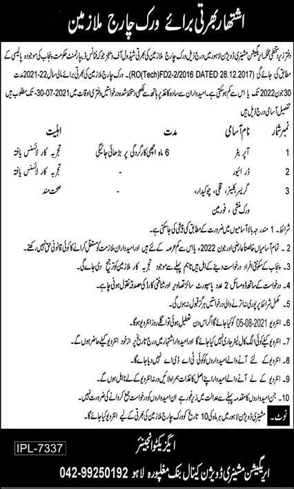 Government Jobs in Lahore 2021 Irrigation Department Jobs July 2021