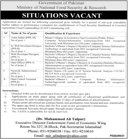 Today Govt jobs in Pakistan Ministry of National Food Security Research MNFSR
