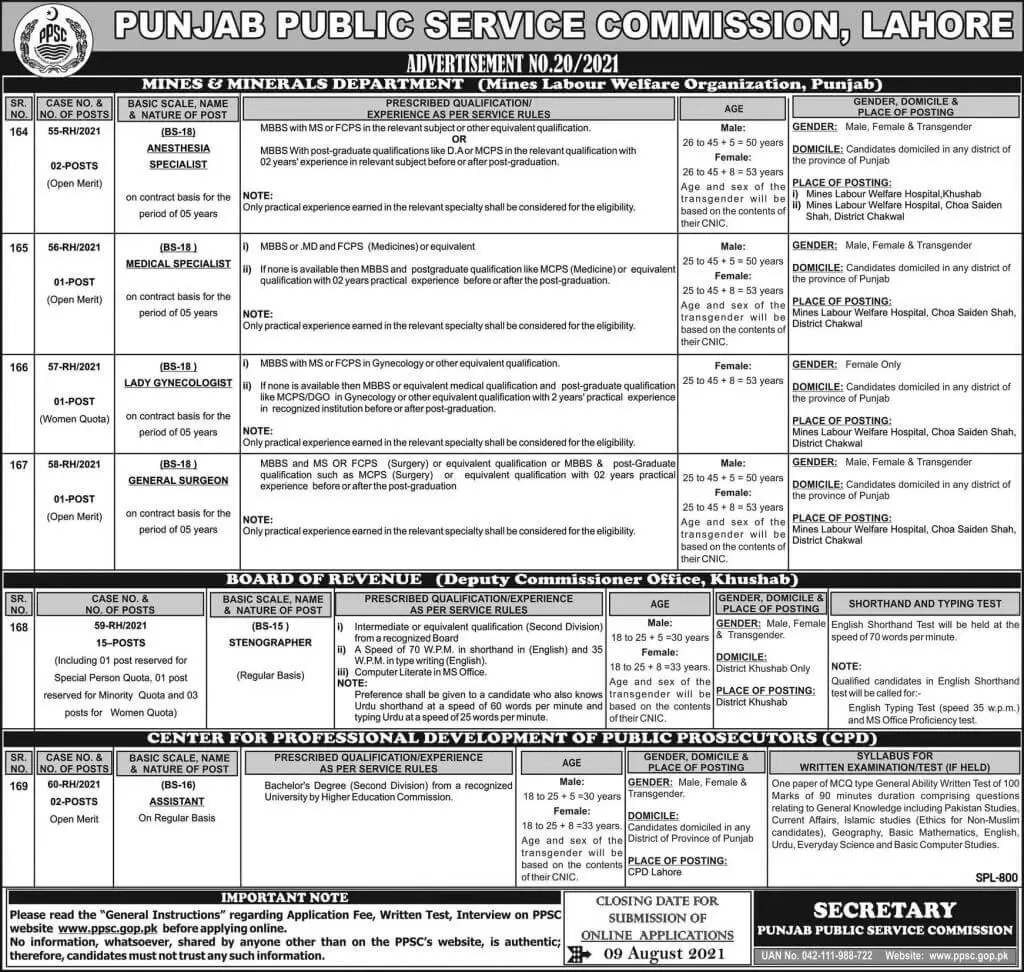 Latest Government jobs in Pakistan Punjab Public Service Commission PPSC Lahore Today