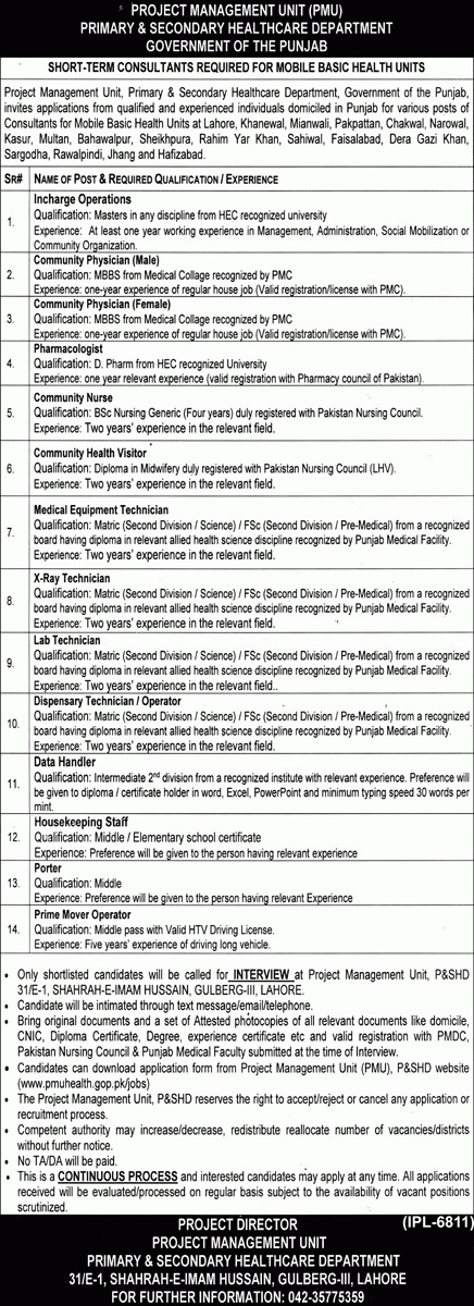 Government jobs in Lahore 2021 Health Department Lahore