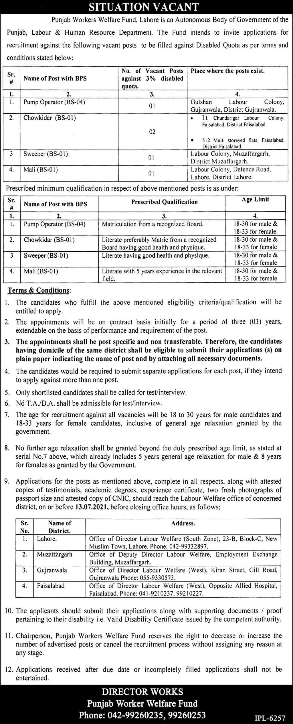 Today Govt of Punjab Jobs Punjab Workers Welfare Board Lahore