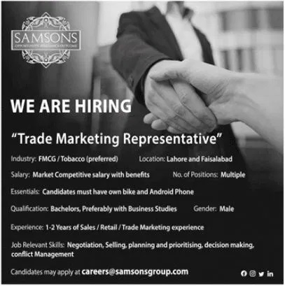 Private jobs in Faisalabad Lahore Today Samsons Group of Companies Jobs