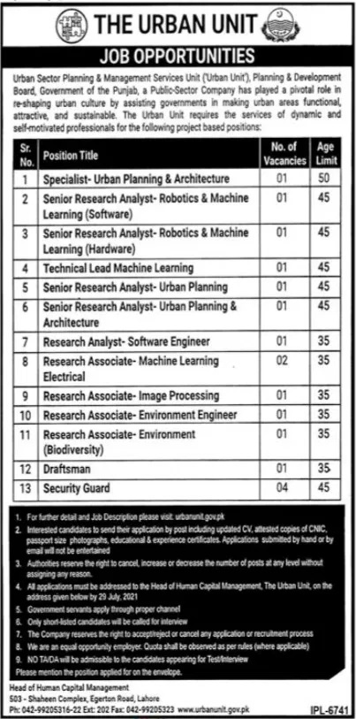 New Government Jobs in Lahore Urban Unit July 2021