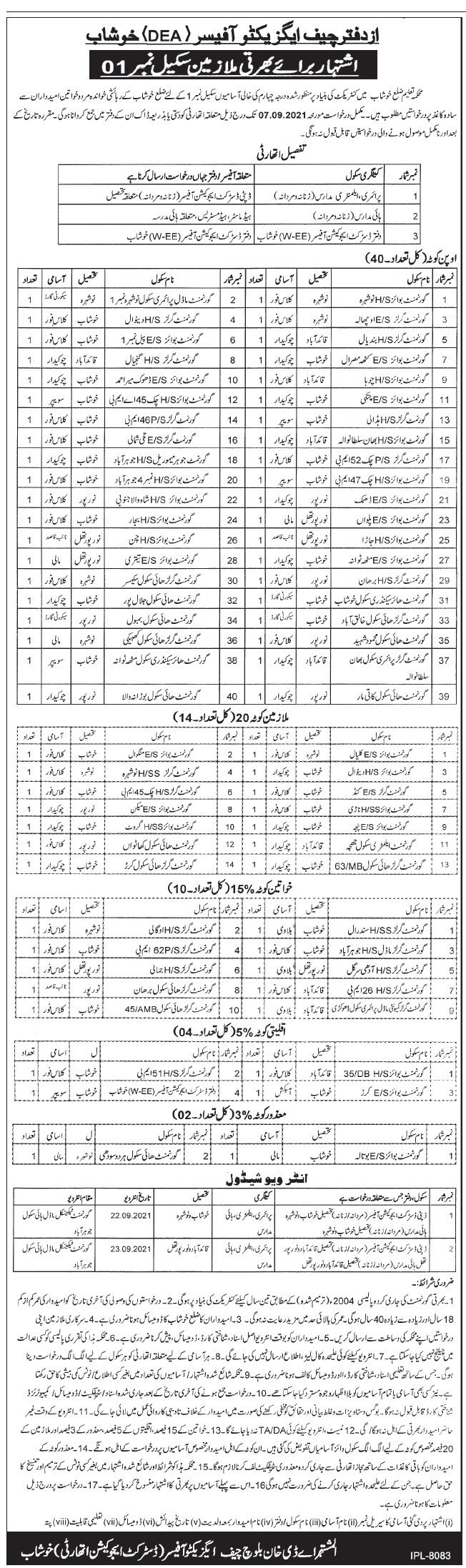 District Education Authority Khushab Jobs