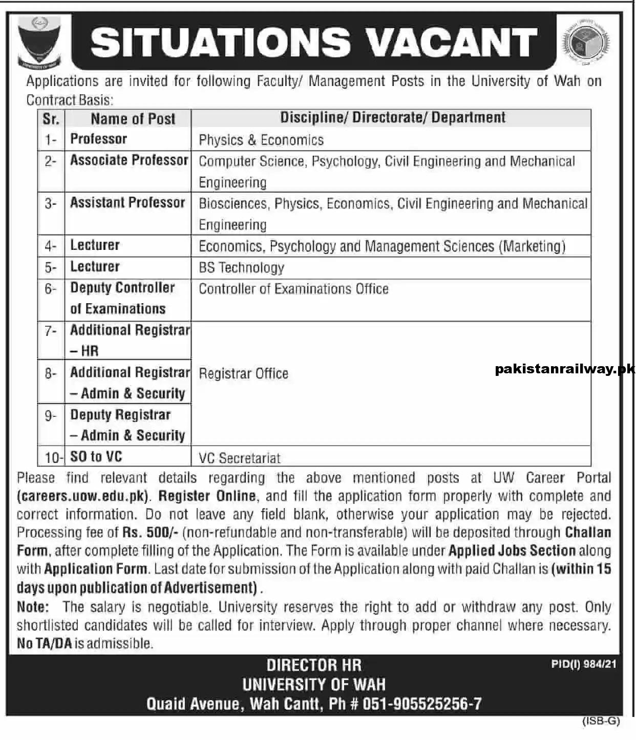 Latest POF Jobs 2021 At University of Wah Cantt