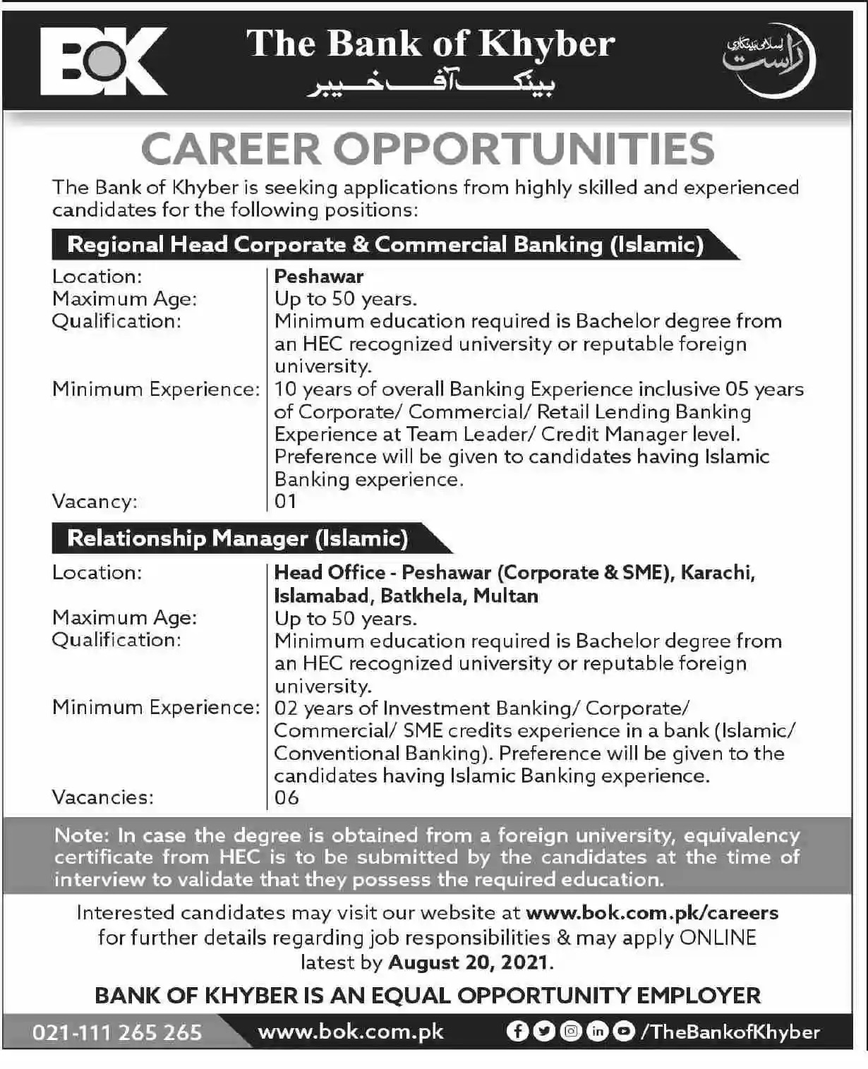 Current Govt jobs in Pakistan Today At Bank of Khyber Jobs 2021