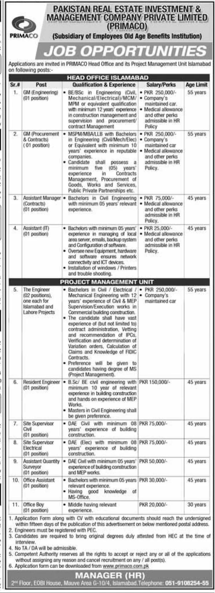 Private Jobs in Islamabad Today At Pricamo Pakistan Real Estate Investment & Management Company