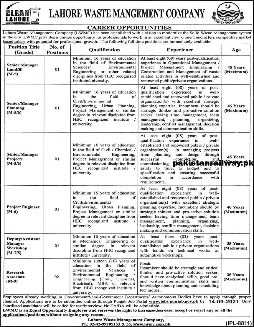 Latest Government jobs in Lahore At Lahore Waste Management Company LWMC