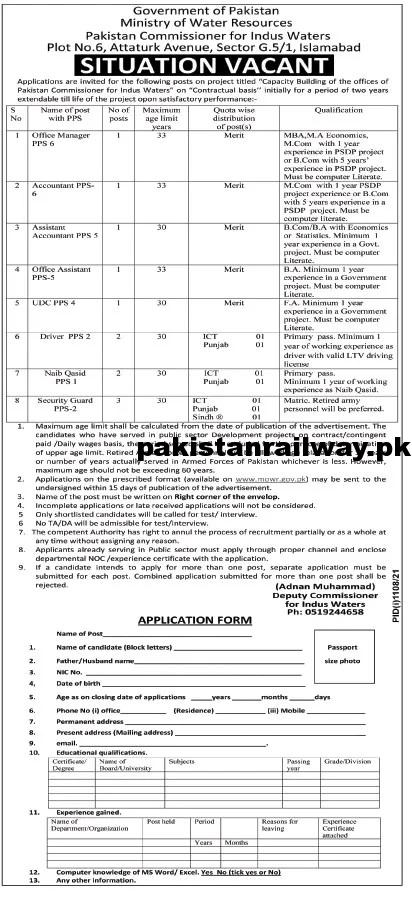 Latest Government jobs in Pakistan Today At Ministry of Water Resources MOWR
