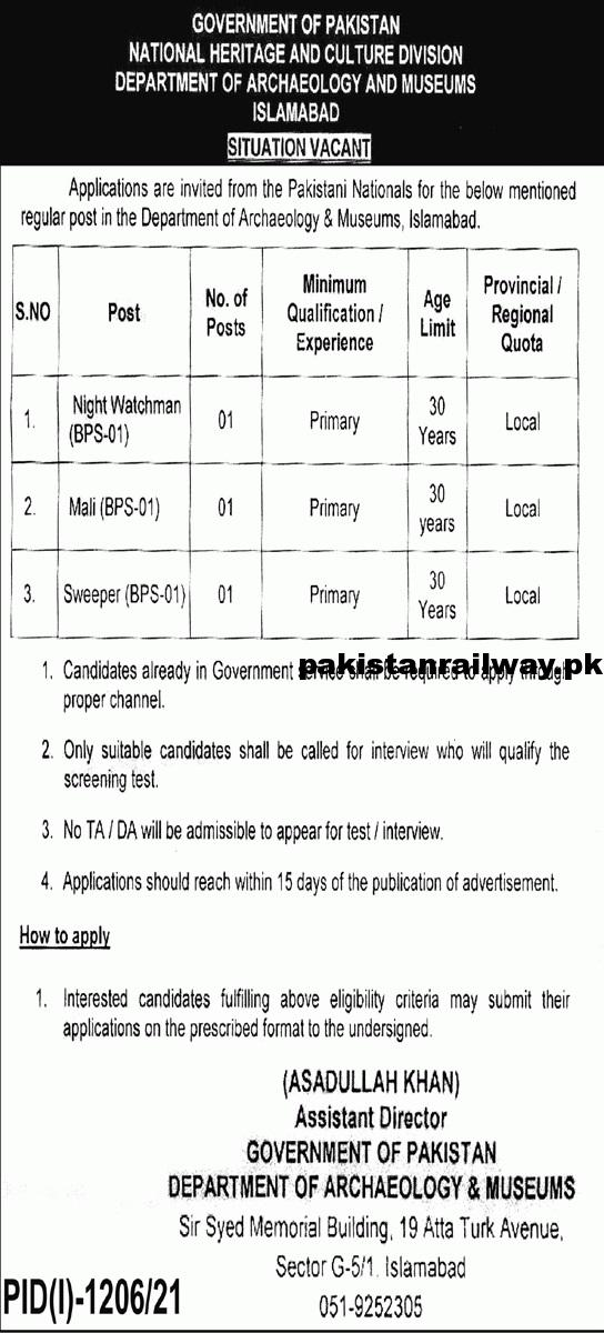 Latest Government Jobs in Islamabad 2021 At National Heritage Division