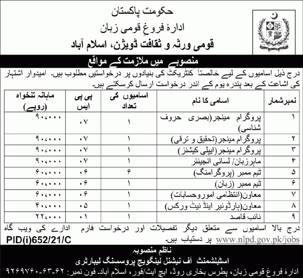 National Heritage and Culture Division Islamabad Jobs