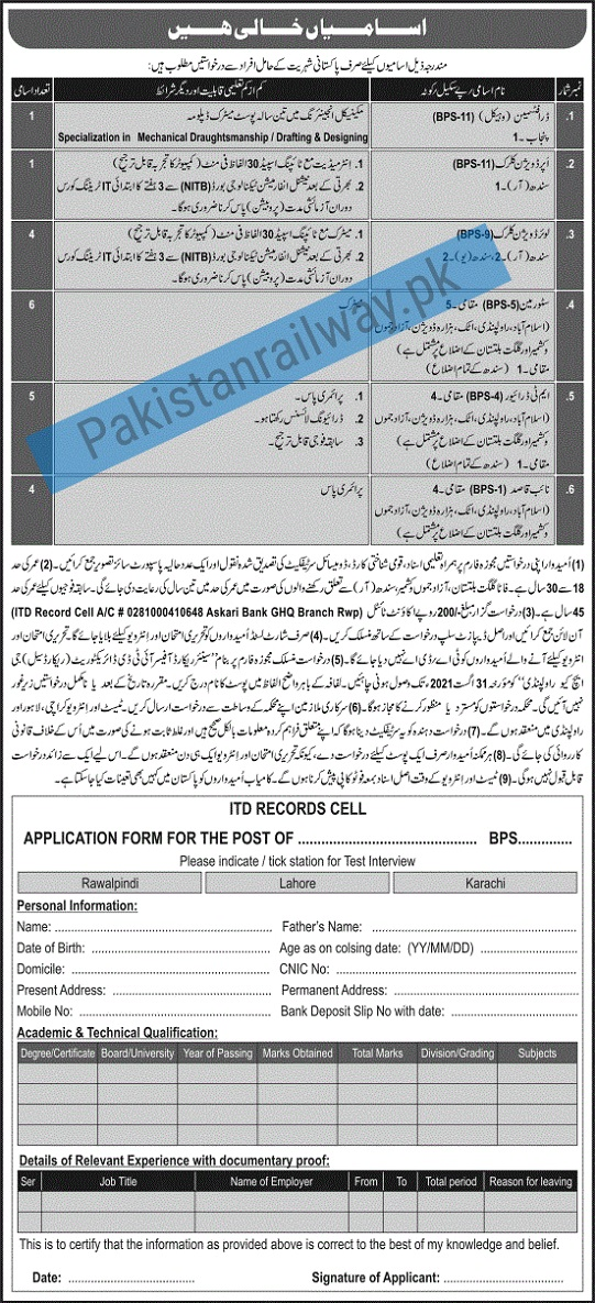 Government Jobs in Pakistan 2021 Matric Base At Pakistan Army ITD Records Cell Rawalpindi Jobs 2021