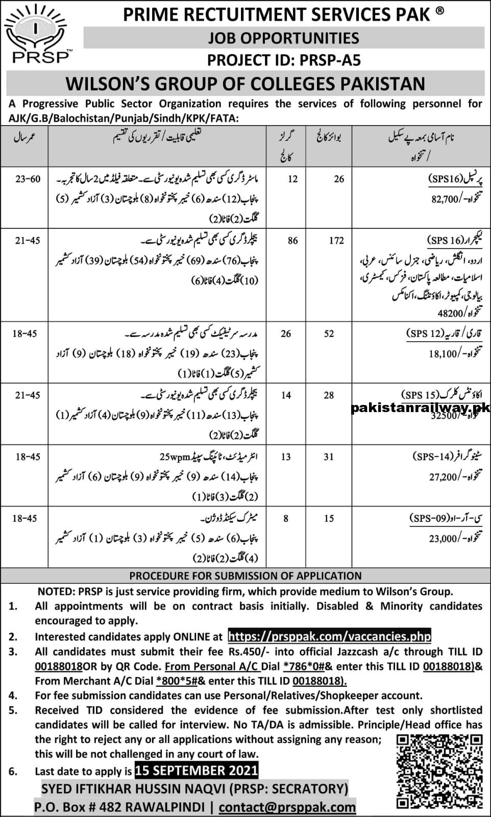 Latest Govt jobs in Pakistan Today At Wilson Group of Colleges Via Prime Recruitment Services Pakistan PRSP