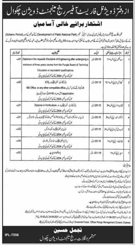 Latest Govt Jobs in Punjab At Forest Department Chakwal