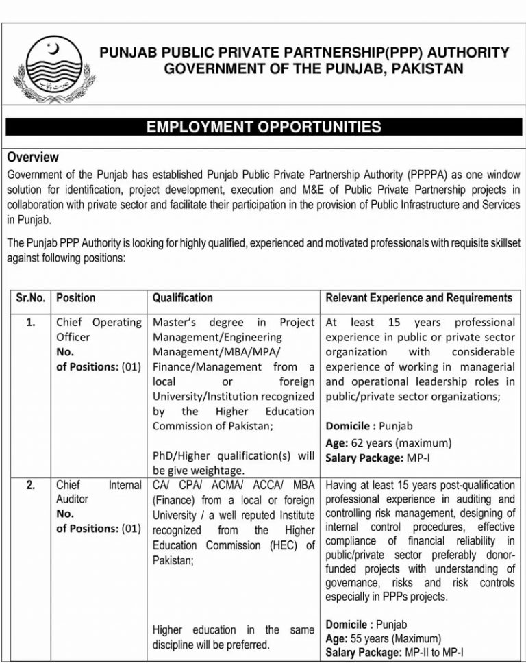 New Govt Jobs In Punjab 2021 At Punjab Public Private Partnership PPP
