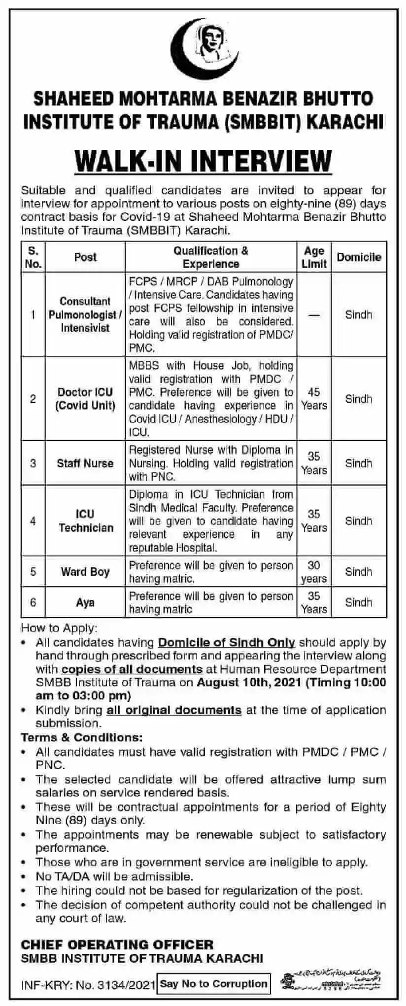 Government Jobs in Karachi Today At SMBBIT Shaheed Mohtarma Benazir Bhutto Institute of Trauma