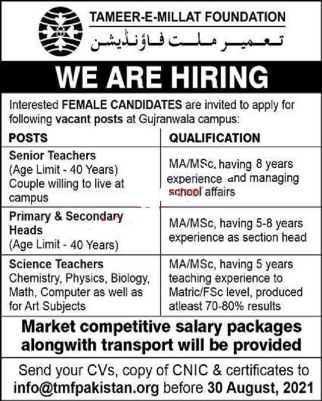 Today Jobs in Gujranwala For Female Teacher At Tameer E Millat Foundation