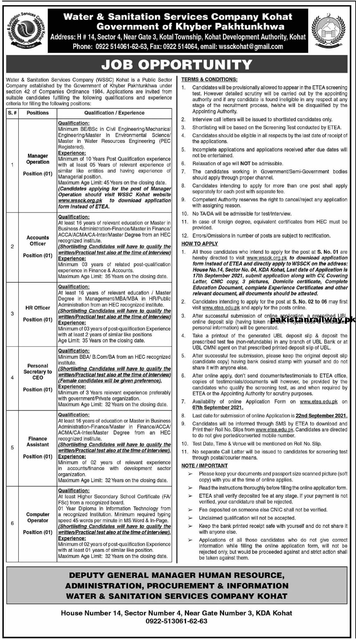 ETEA Jobs At Water and Sanitation Services Company WSSC Kohat